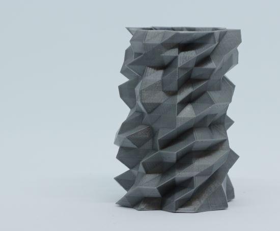 grey low poly crazy cool 3d printed pen pot PLA