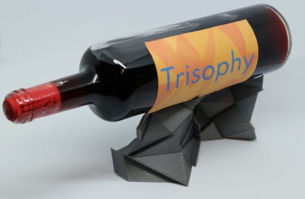 Metallic grey low poly red wine holder 3D printed display for bottles