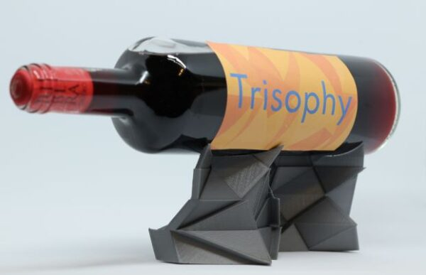 Metallic grey low poly wine holder 3D printed display for bottles