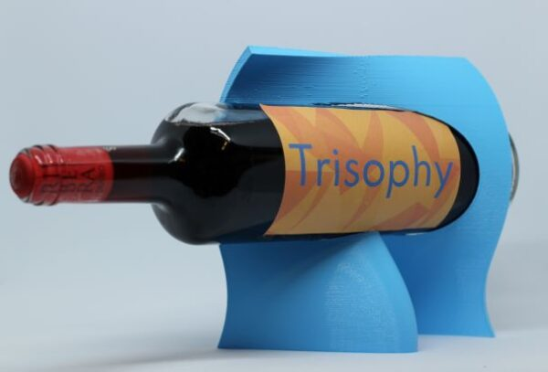 colorful blue functional organic wine holder 3D printed bottle display