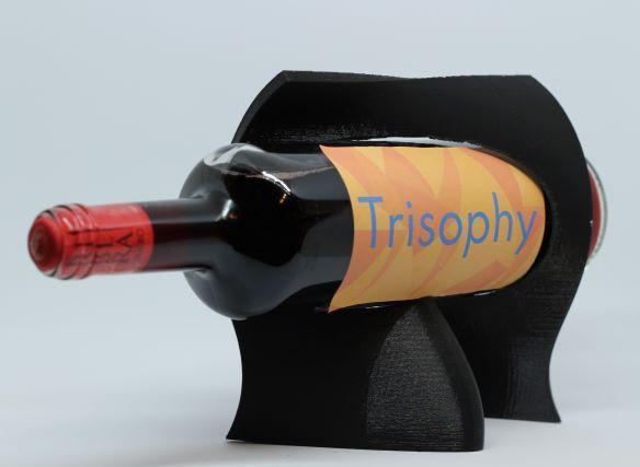 black organic wine holder 3D printed bottle display