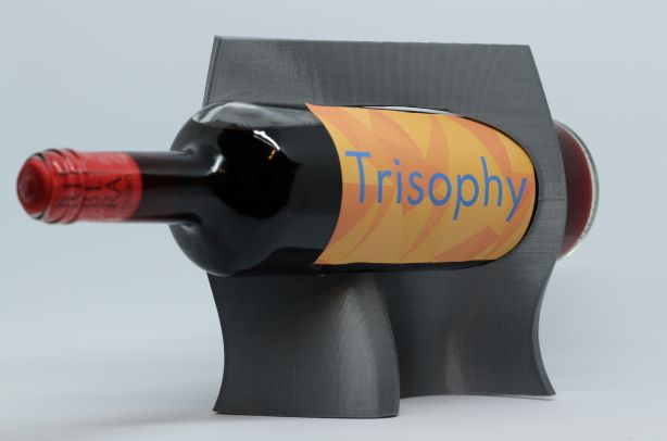 elegant grey organic wine holder 3D printed bottle display
