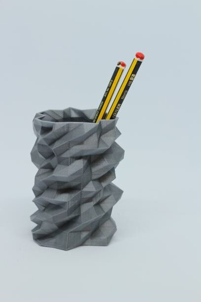 grey low poly crazy cool 3d printed pen pot PLA