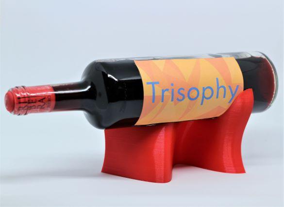 3D printed Wave red shiny bottle display wine holder