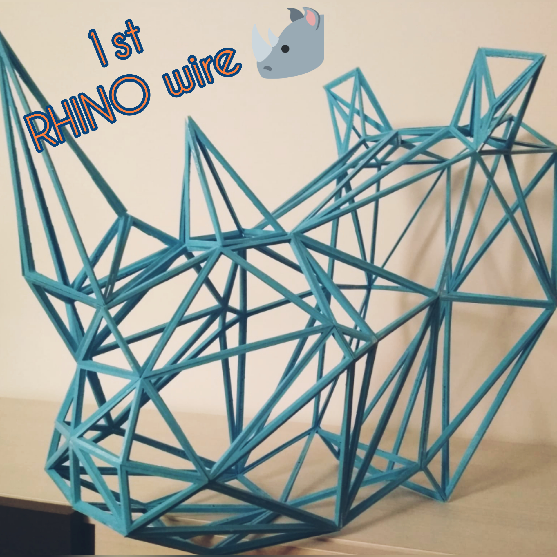 LOW POLY 3d printed 3D puzzle light blue assembled wall decoration