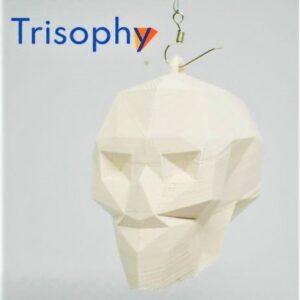 low poly skull calavera craneo ornamento colgante blanco hueso